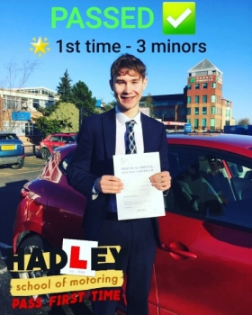 12/02/2020 - First class support from at Hadley School of Motoring. My son passed his test first time with only 3 minors thanks to the excellent tuition from Mike. Friendly, flexible and just really good at what they they do! Can´t recommend these guys highly enough.